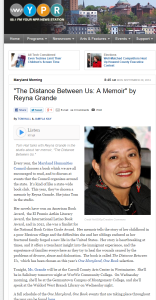 The Distance Between Us  A Memoir  by Reyna Grande   WYPR